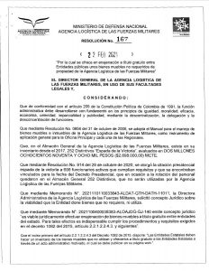 Agencia Logística de las Fuerzas Militares ofrece Enajenación a Título Gratuito- Resolución No. 167